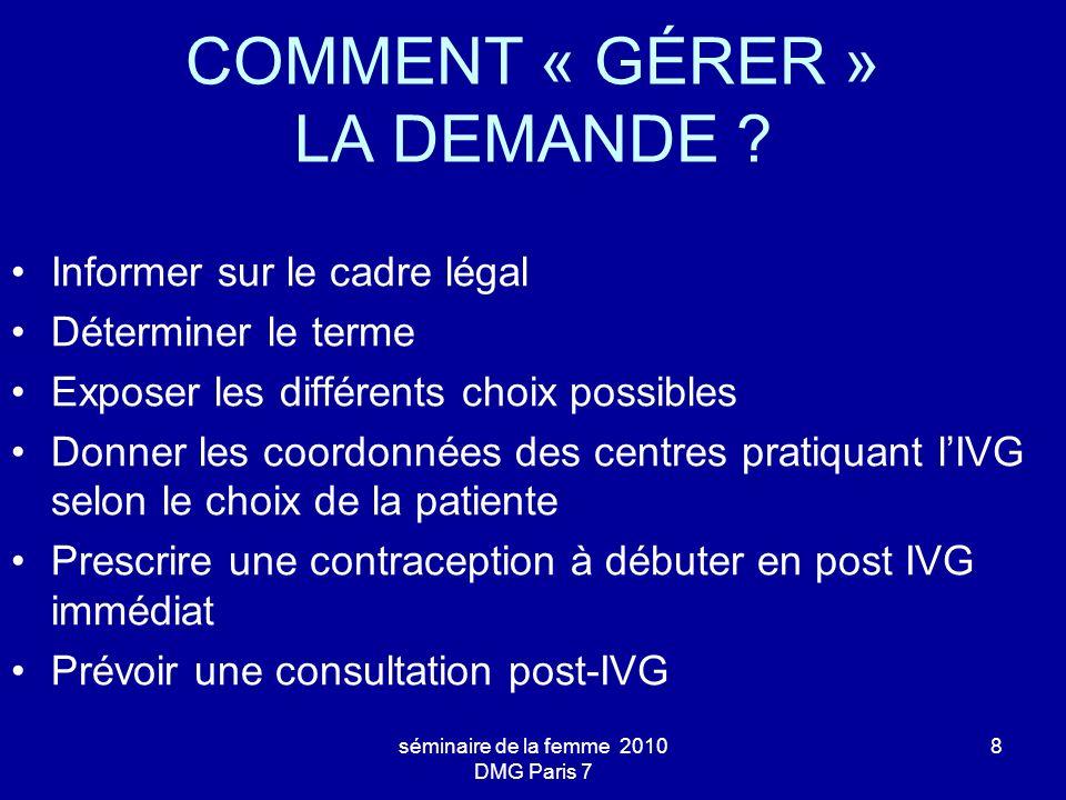 COMMENT « GÉRER » LA DEMANDE