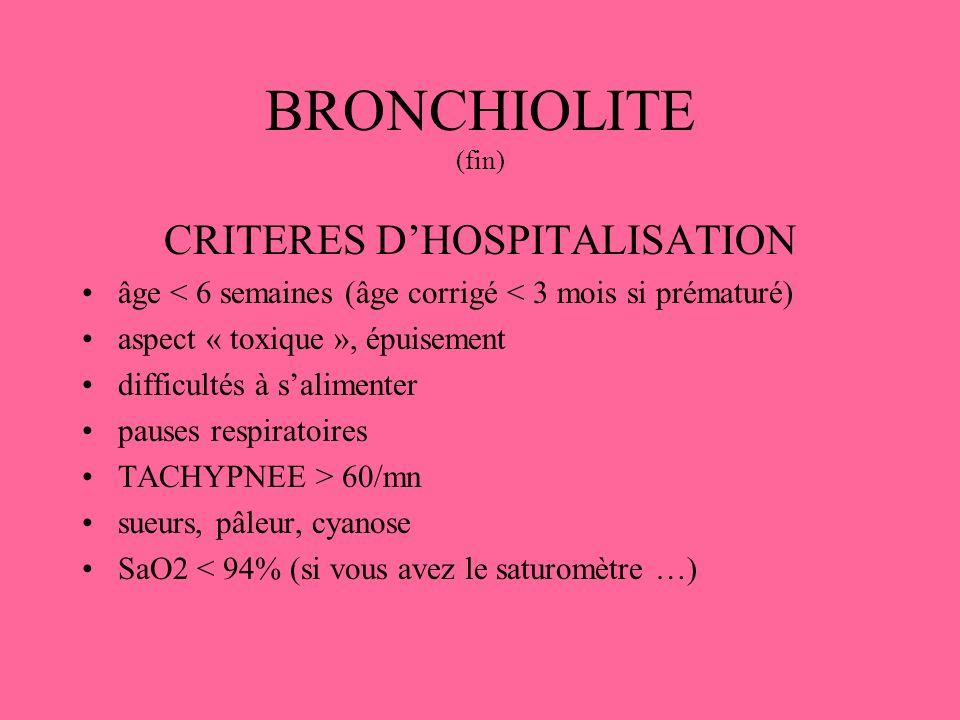 CRITERES D'HOSPITALISATION