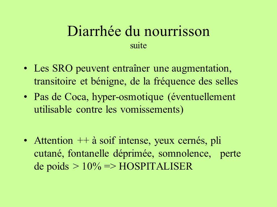 Diarrhée du nourrisson suite