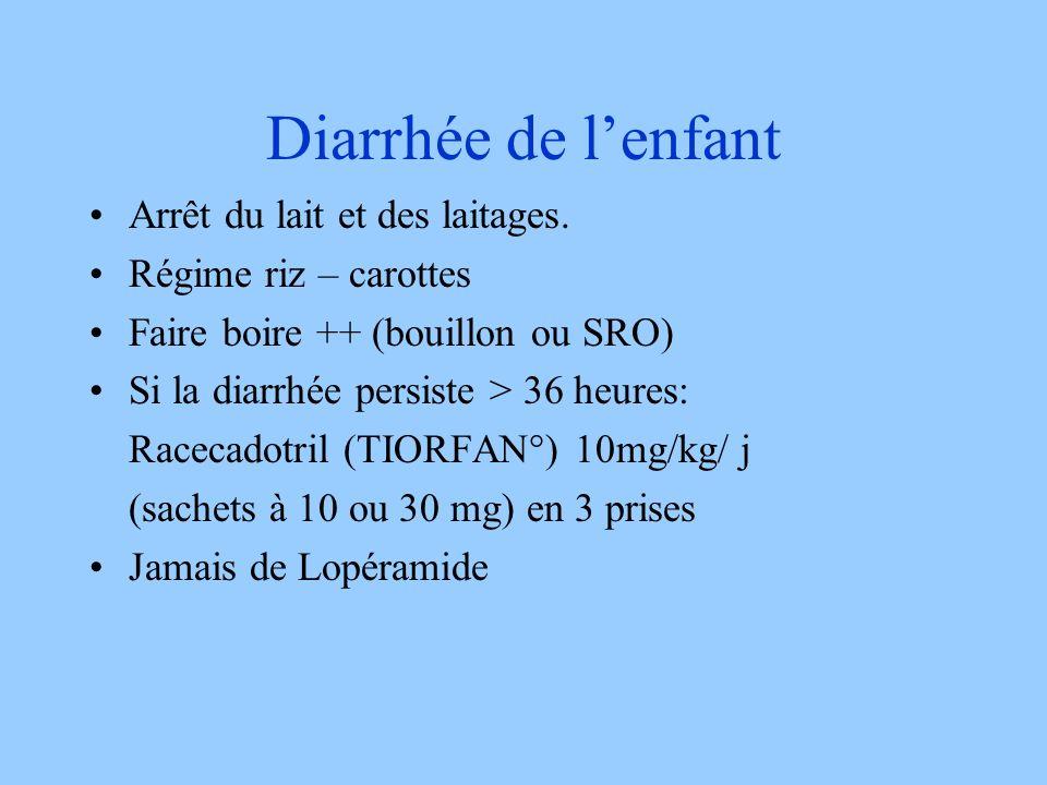 Diarrhée de l'enfant Arrêt du lait et des laitages.