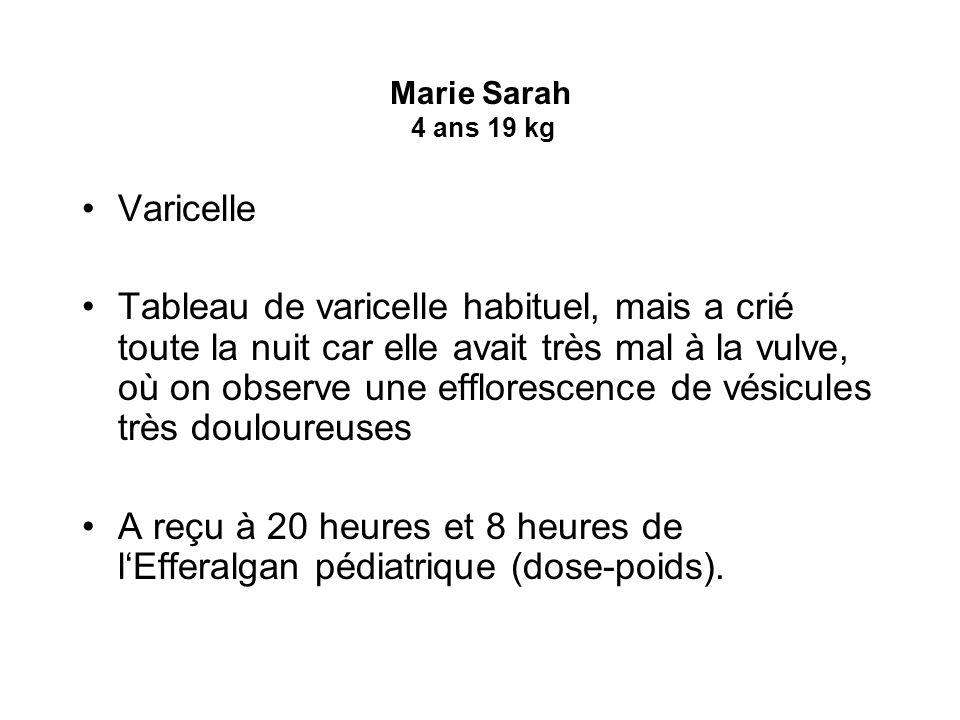 Marie Sarah 4 ans 19 kg Varicelle.
