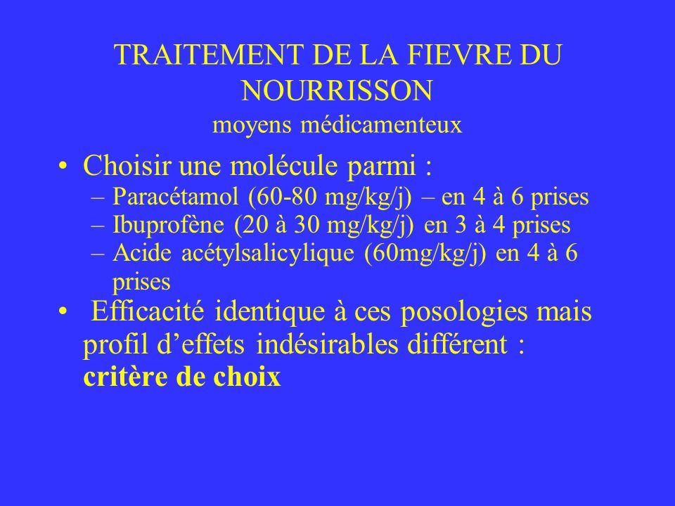 TRAITEMENT DE LA FIEVRE DU NOURRISSON moyens médicamenteux