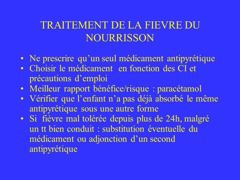 TRAITEMENT DE LA FIEVRE DU NOURRISSON