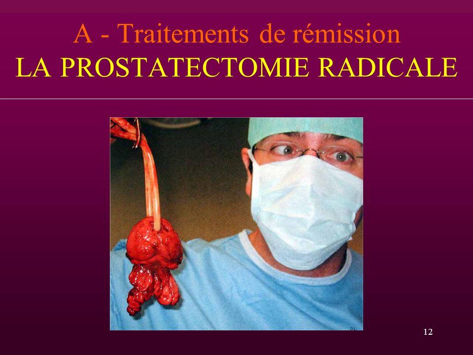 A - Traitements de rémission LA PROSTATECTOMIE RADICALE
