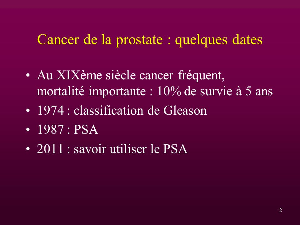 Cancer de la prostate : quelques dates