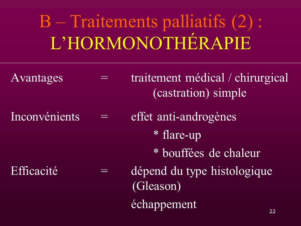 B – Traitements palliatifs (2) : L'HORMONOTHÉRAPIE