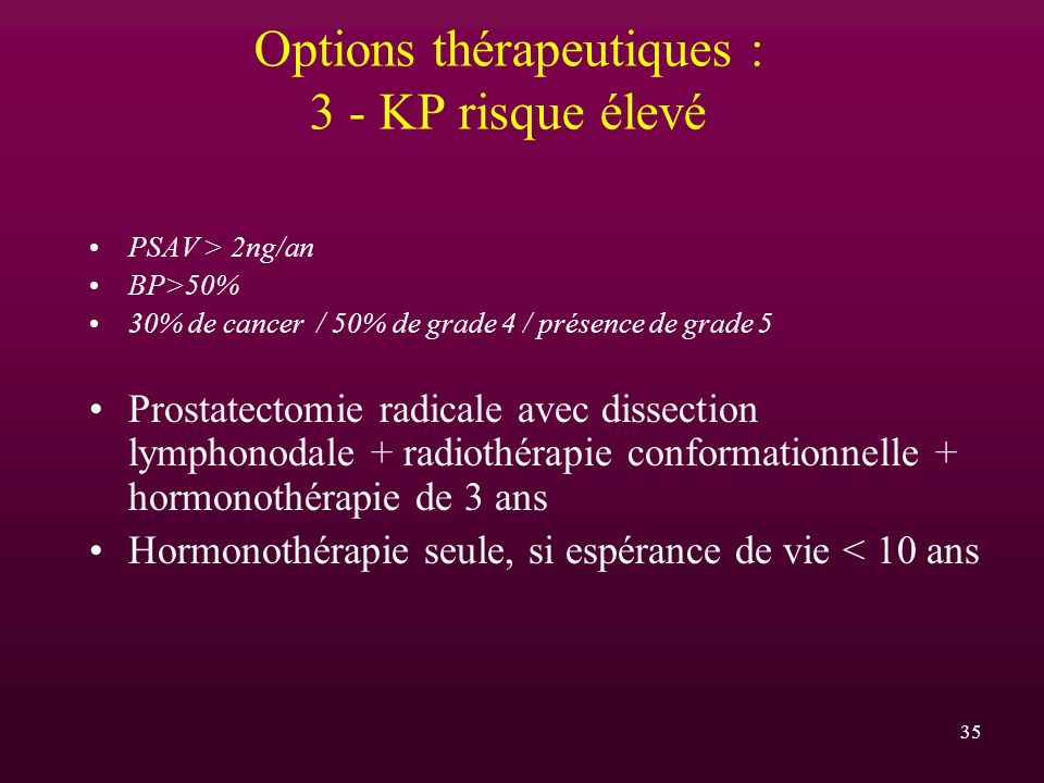 Options thérapeutiques : 3 - KP risque élevé