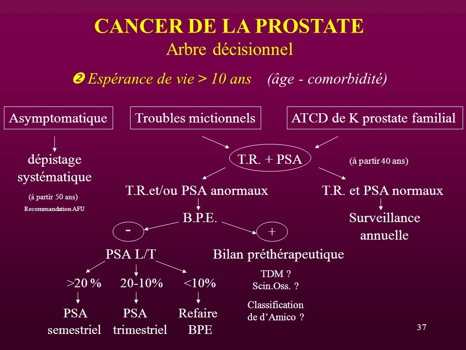 CANCER DE LA PROSTATE Arbre décisionnel -