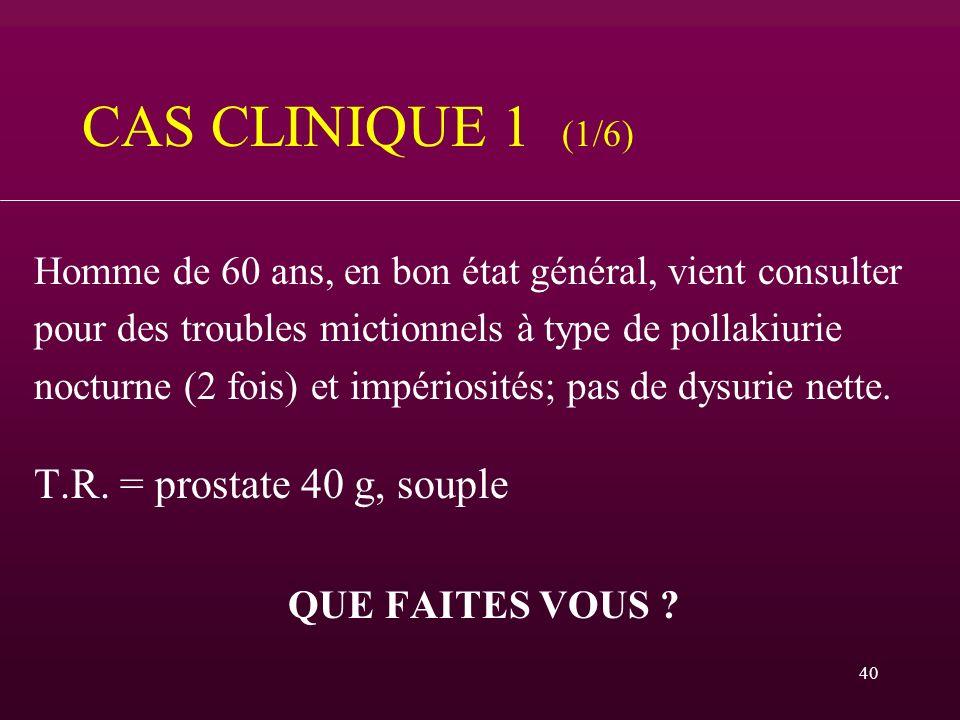 CAS CLINIQUE 1 (1/6) T.R. = prostate 40 g, souple