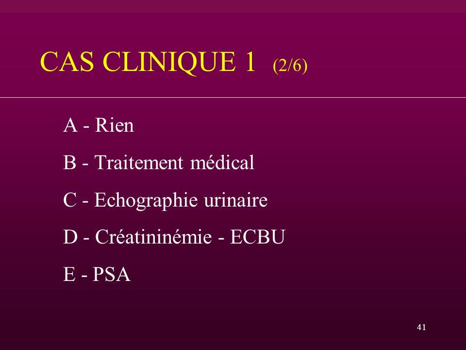 CAS CLINIQUE 1 (2/6) B - Traitement médical C - Echographie urinaire