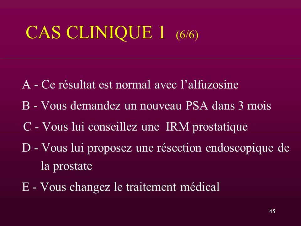 CAS CLINIQUE 1 (6/6) A - Ce résultat est normal avec l'alfuzosine