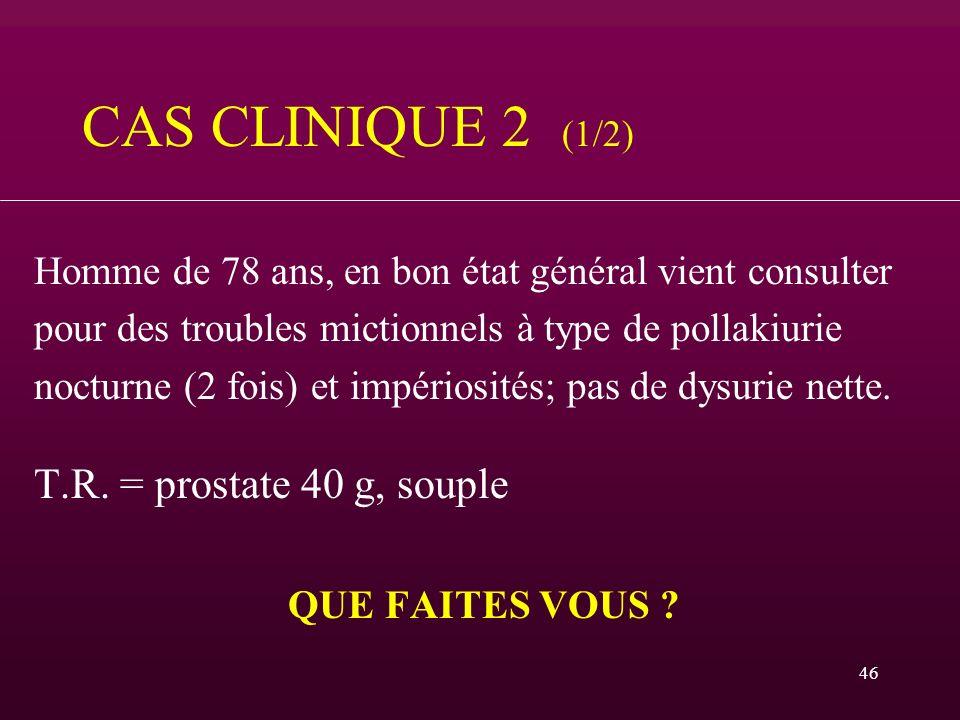 CAS CLINIQUE 2 (1/2) T.R. = prostate 40 g, souple