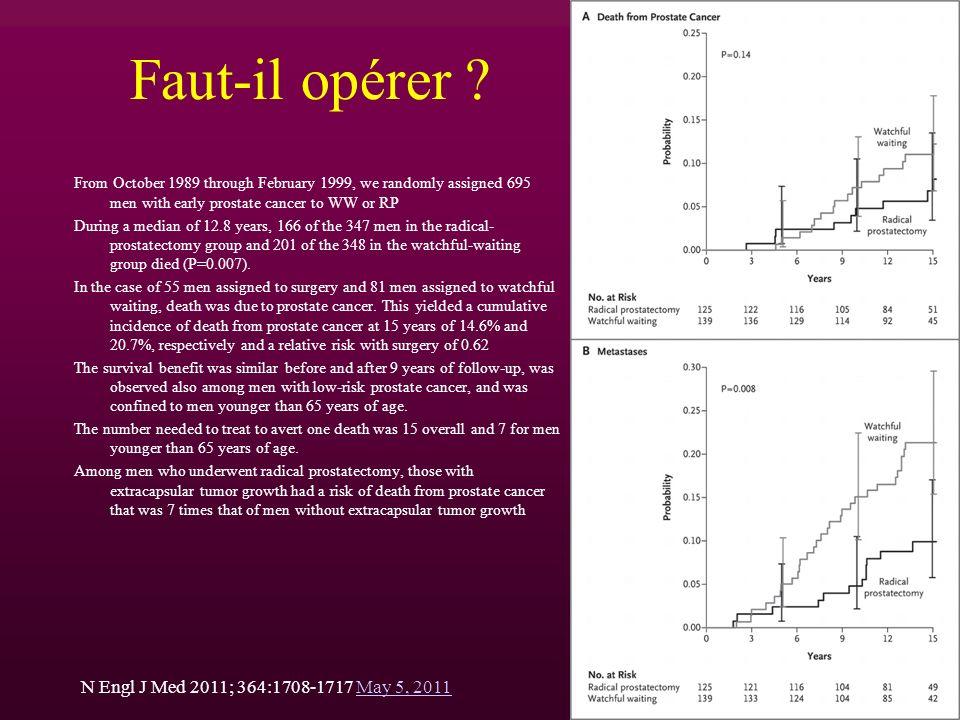 Faut-il opérer N Engl J Med 2011; 364:1708-1717 May 5, 2011