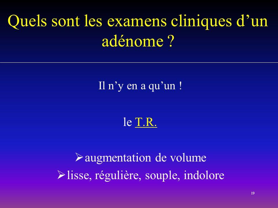 Quels sont les examens cliniques d'un adénome