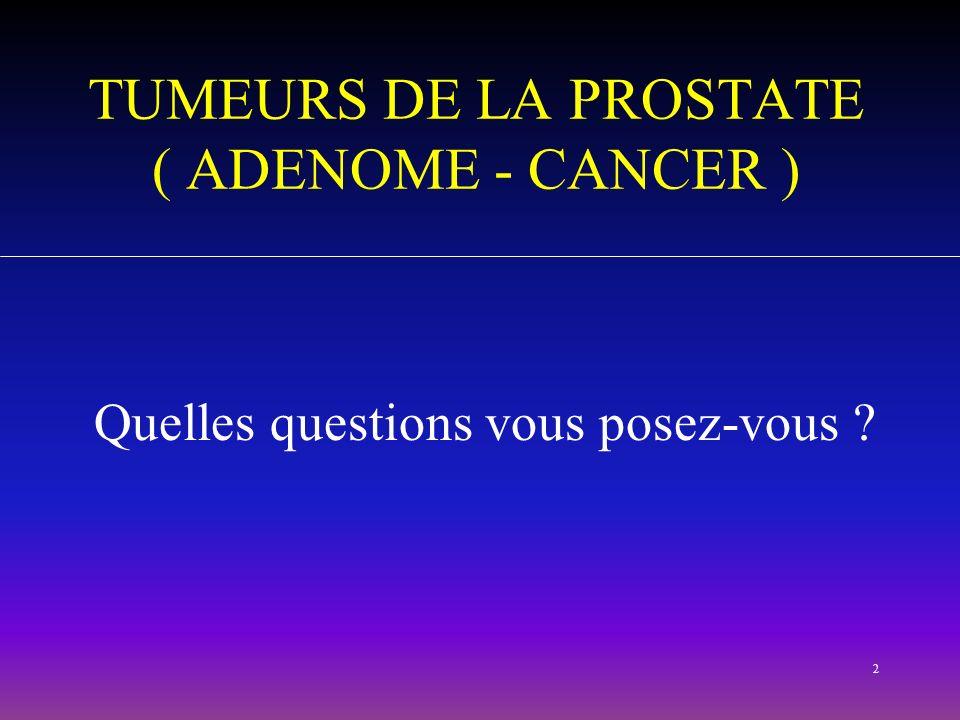 TUMEURS DE LA PROSTATE ( ADENOME - CANCER )