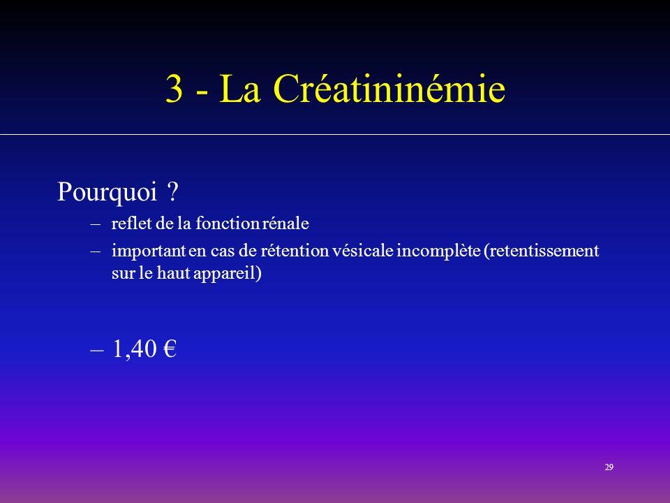 3 - La Créatininémie Pourquoi 1,40 € reflet de la fonction rénale