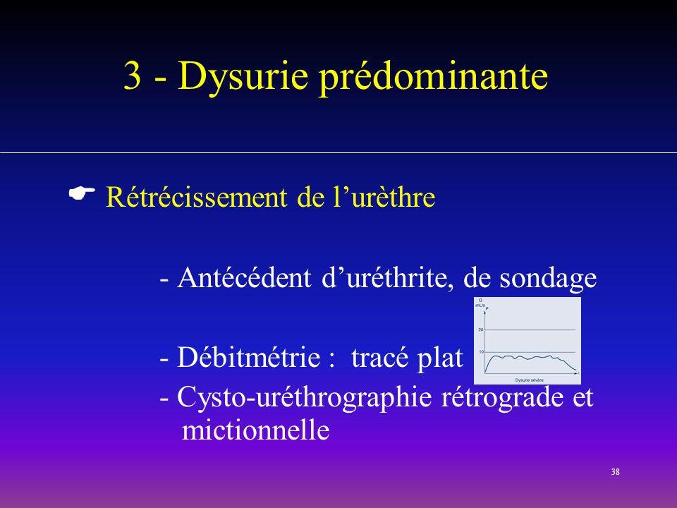 3 - Dysurie prédominante