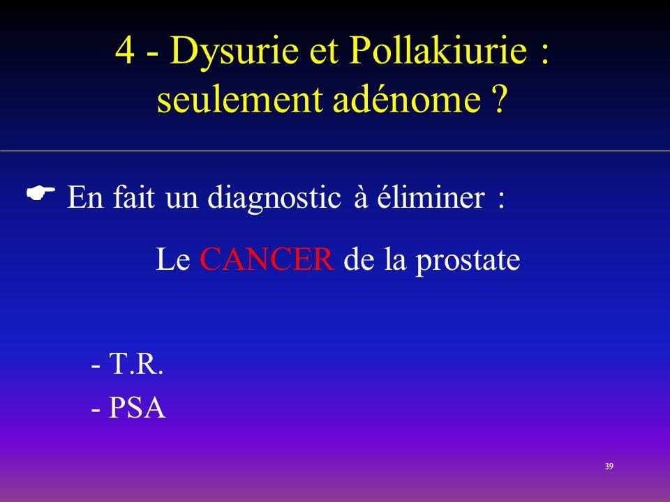 4 - Dysurie et Pollakiurie : seulement adénome