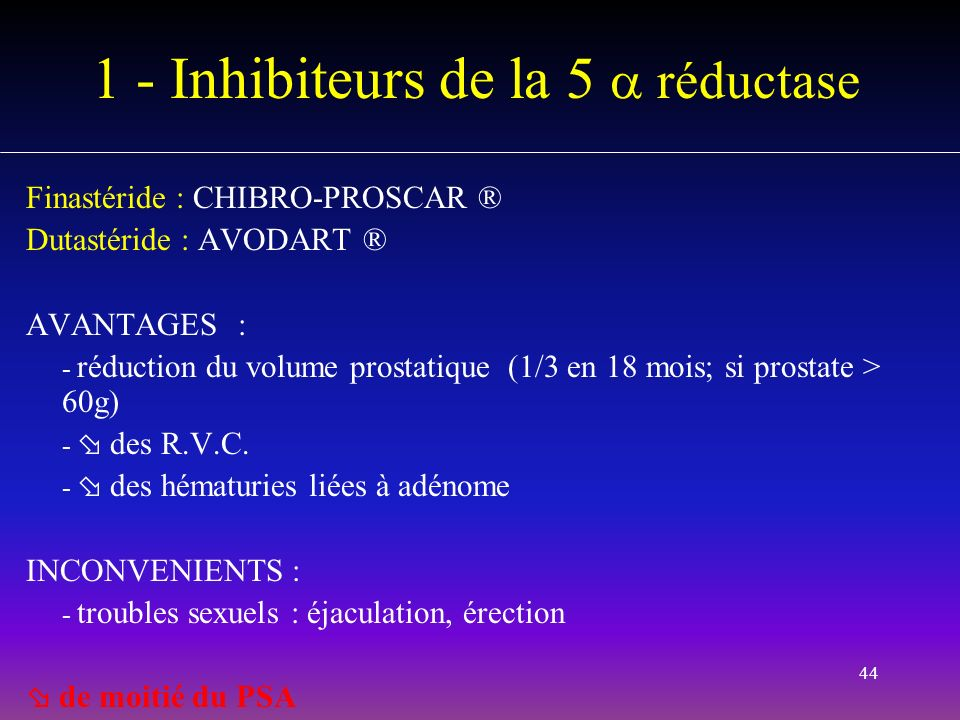 1 - Inhibiteurs de la 5  réductase