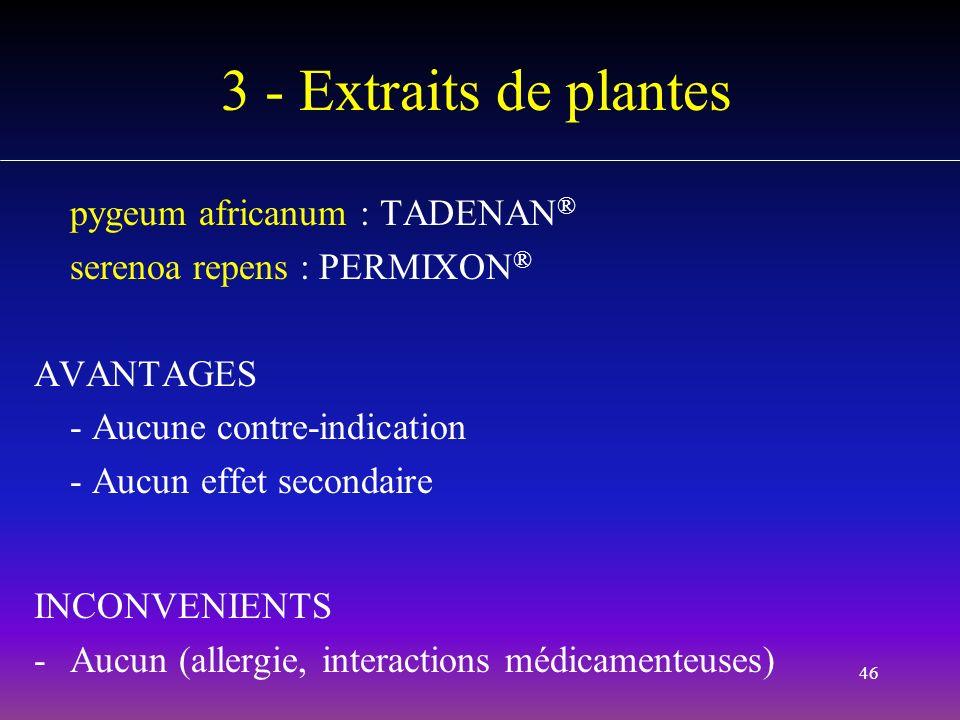 3 - Extraits de plantes pygeum africanum : TADENAN®