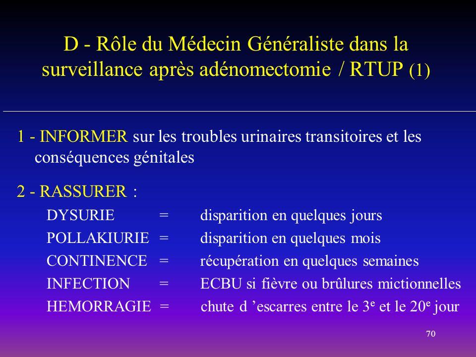 D - Rôle du Médecin Généraliste dans la surveillance après adénomectomie / RTUP (1)