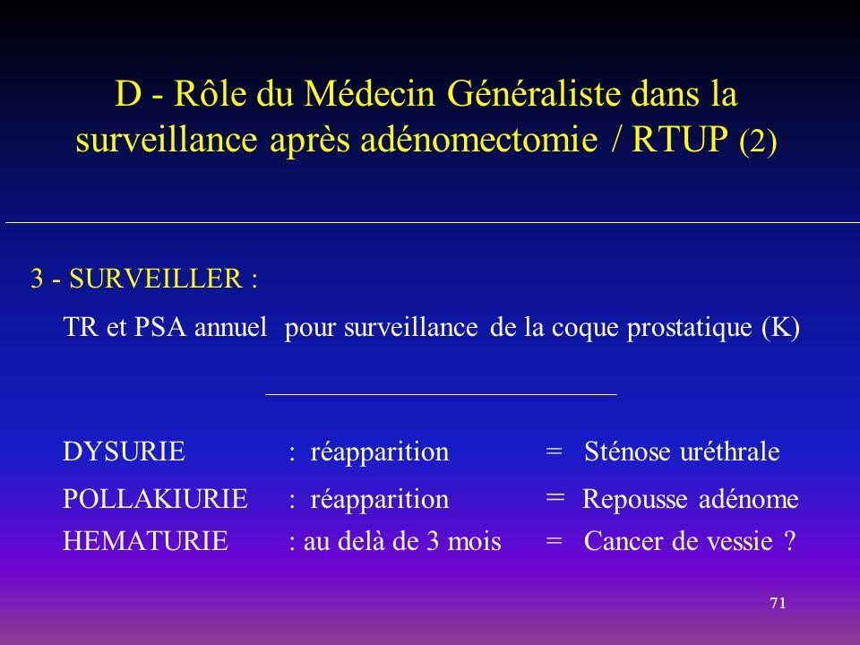 D - Rôle du Médecin Généraliste dans la surveillance après adénomectomie / RTUP (2)