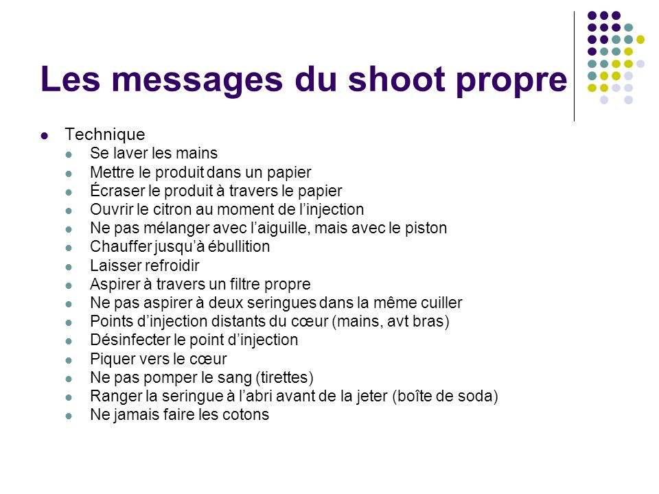 Les messages du shoot propre