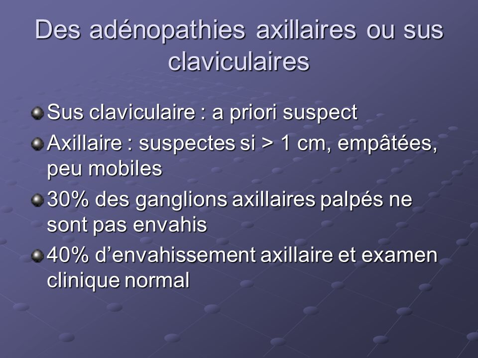 Des adénopathies axillaires ou sus claviculaires