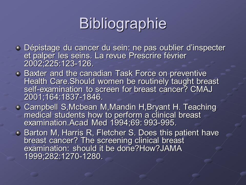 Bibliographie Dépistage du cancer du sein: ne pas oublier d'inspecter et palper les seins. La revue Prescrire février 2002;225:123-126.