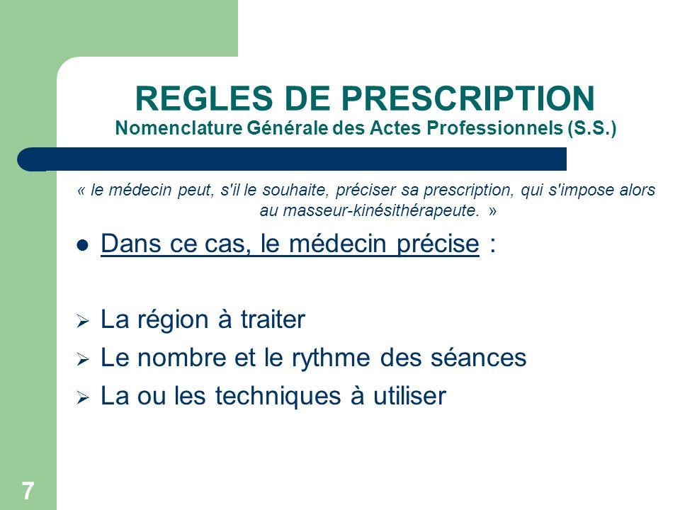 REGLES DE PRESCRIPTION Nomenclature Générale des Actes Professionnels (S.S.)