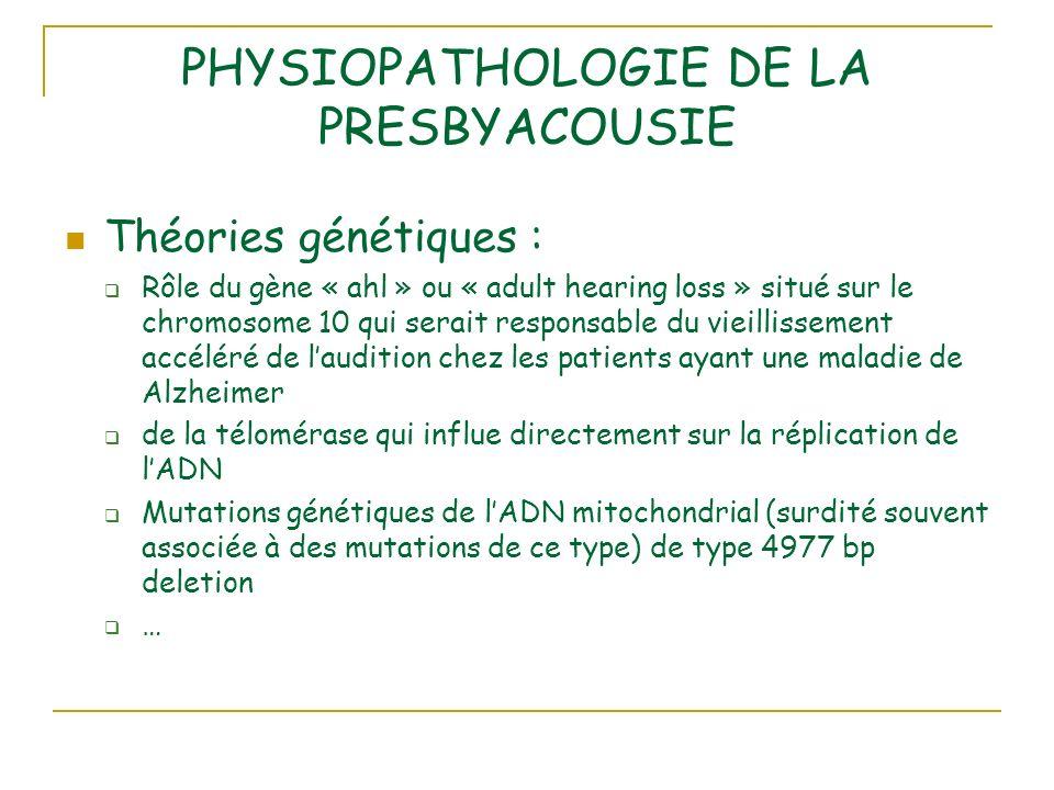 PHYSIOPATHOLOGIE DE LA PRESBYACOUSIE