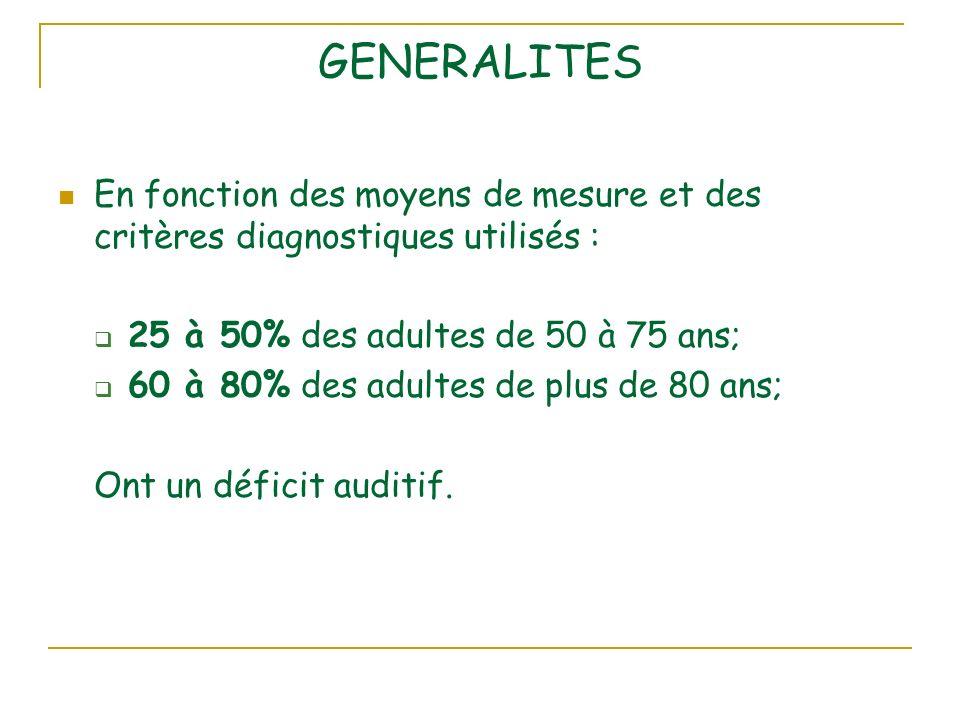 GENERALITES En fonction des moyens de mesure et des critères diagnostiques utilisés : 25 à 50% des adultes de 50 à 75 ans;