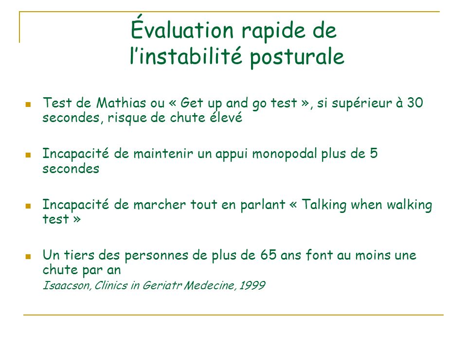 Évaluation rapide de l'instabilité posturale