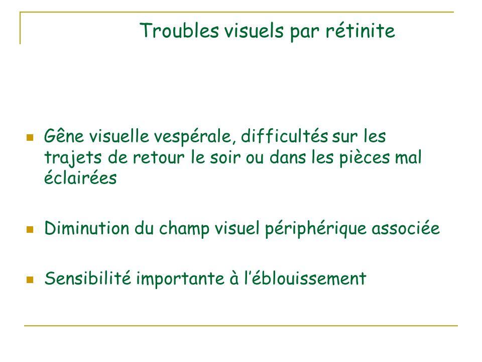 Troubles visuels par rétinite