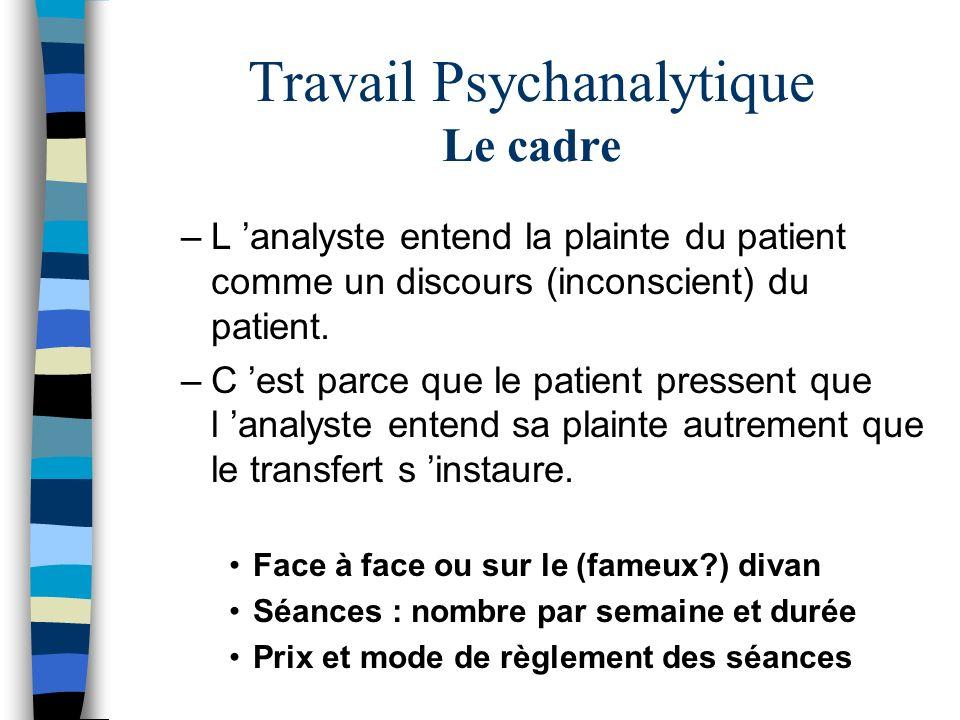 Travail Psychanalytique Le cadre