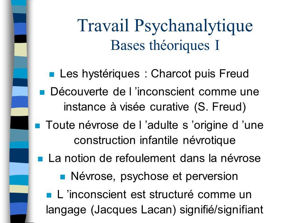 Travail Psychanalytique Bases théoriques I