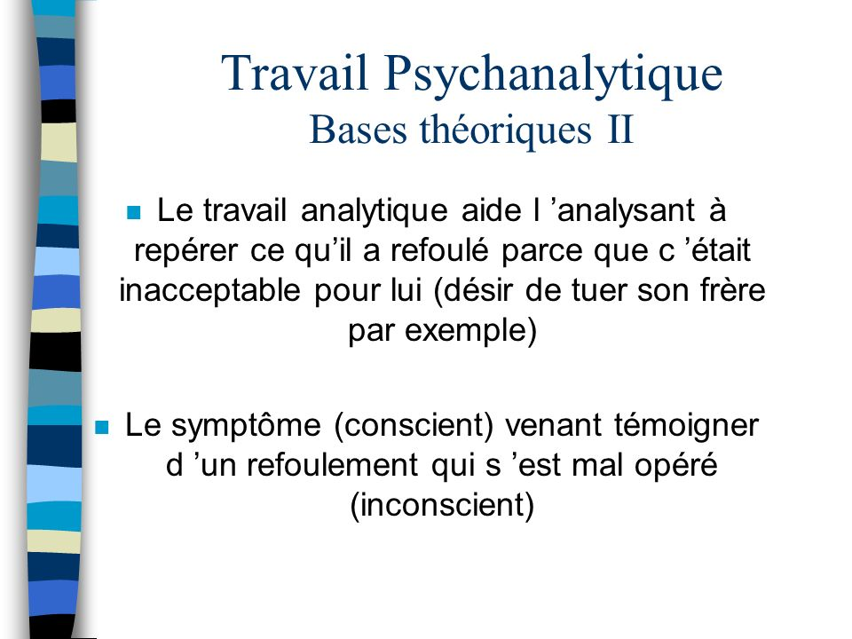 Travail Psychanalytique Bases théoriques II