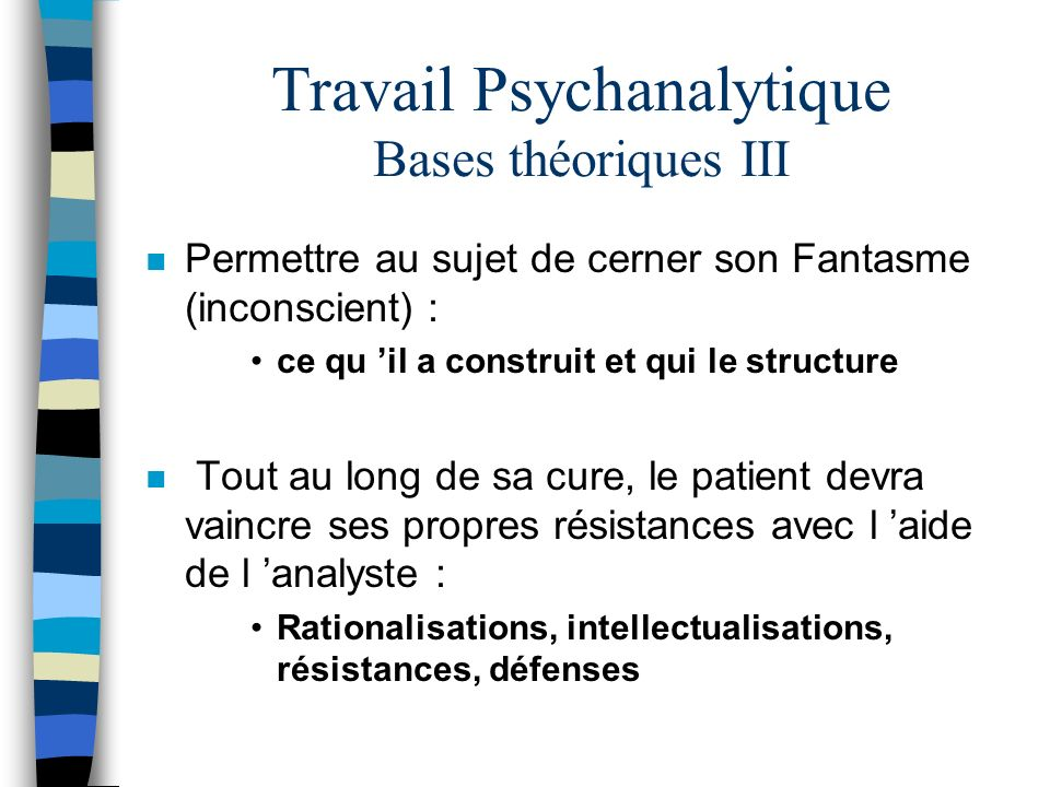 Travail Psychanalytique Bases théoriques III