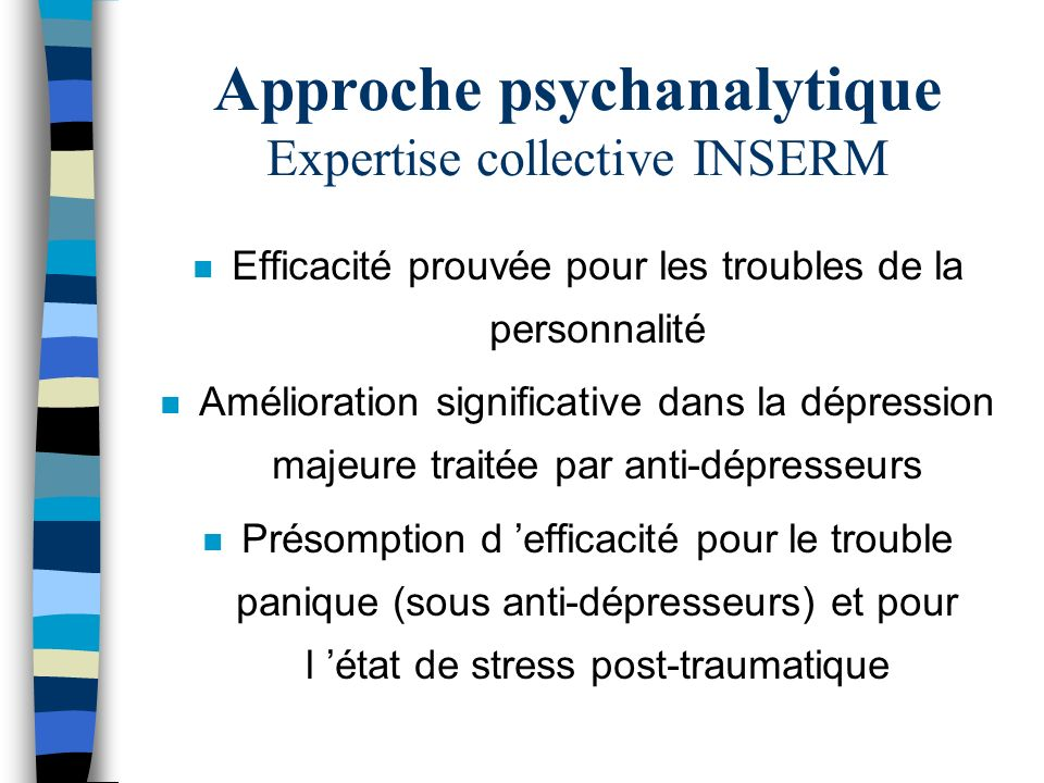 Approche psychanalytique Expertise collective INSERM