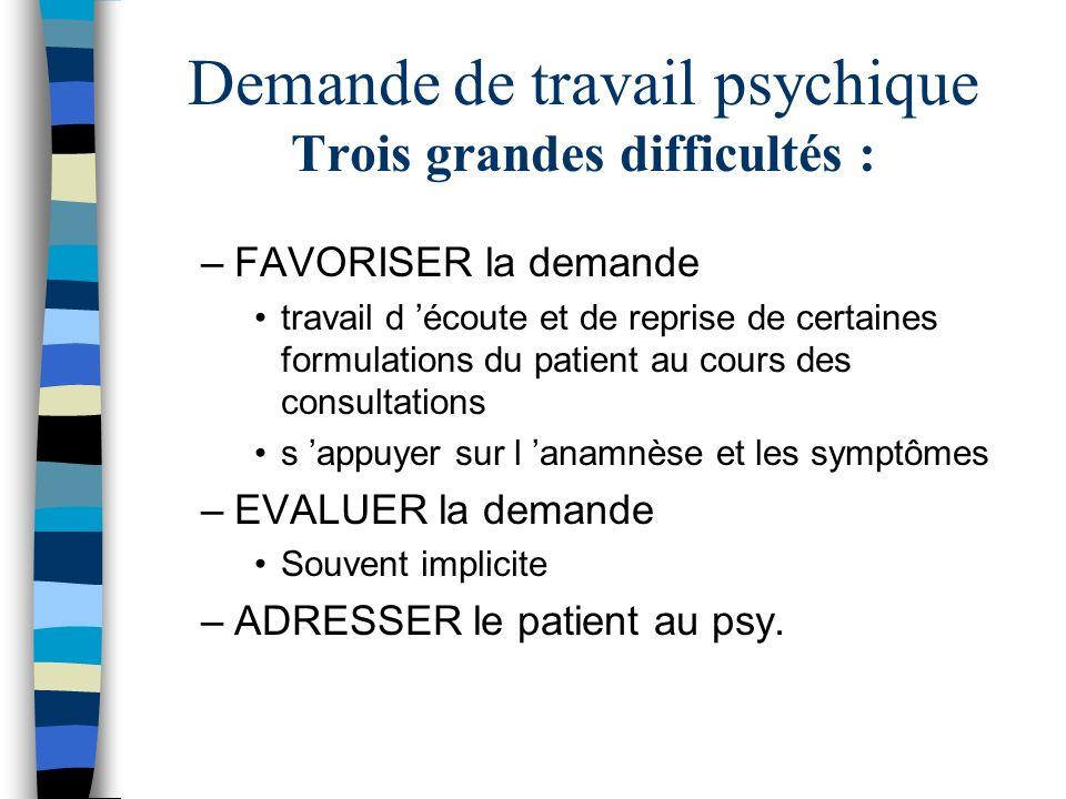 Demande de travail psychique Trois grandes difficultés :