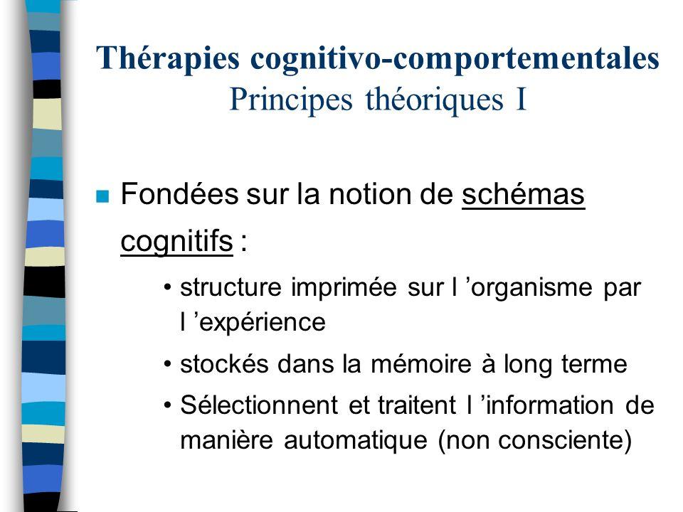 Thérapies cognitivo-comportementales Principes théoriques I