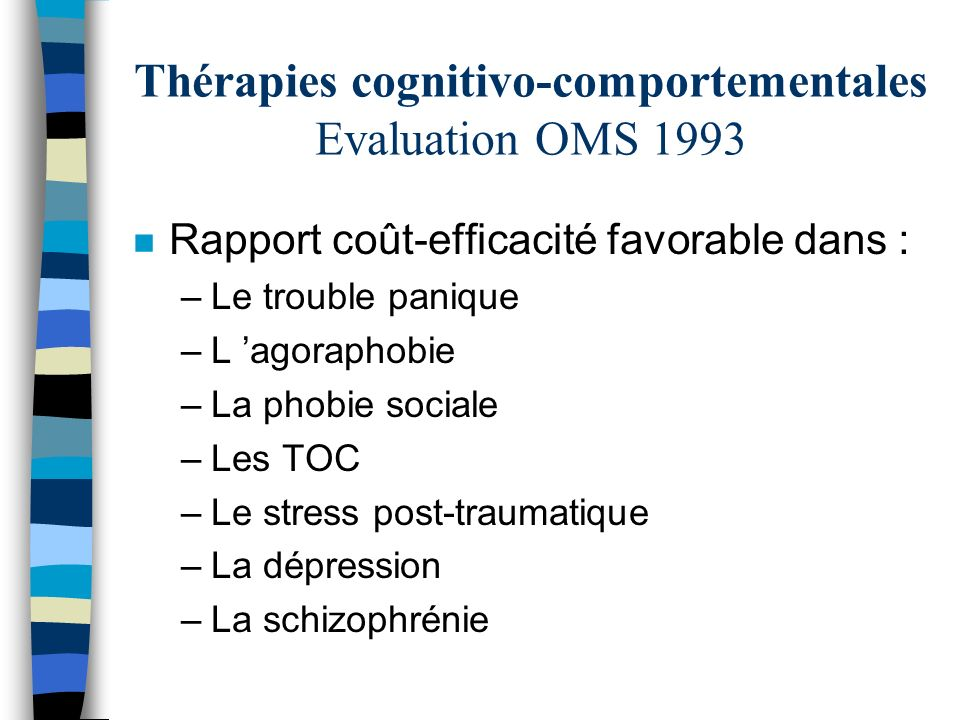 Thérapies cognitivo-comportementales Evaluation OMS 1993