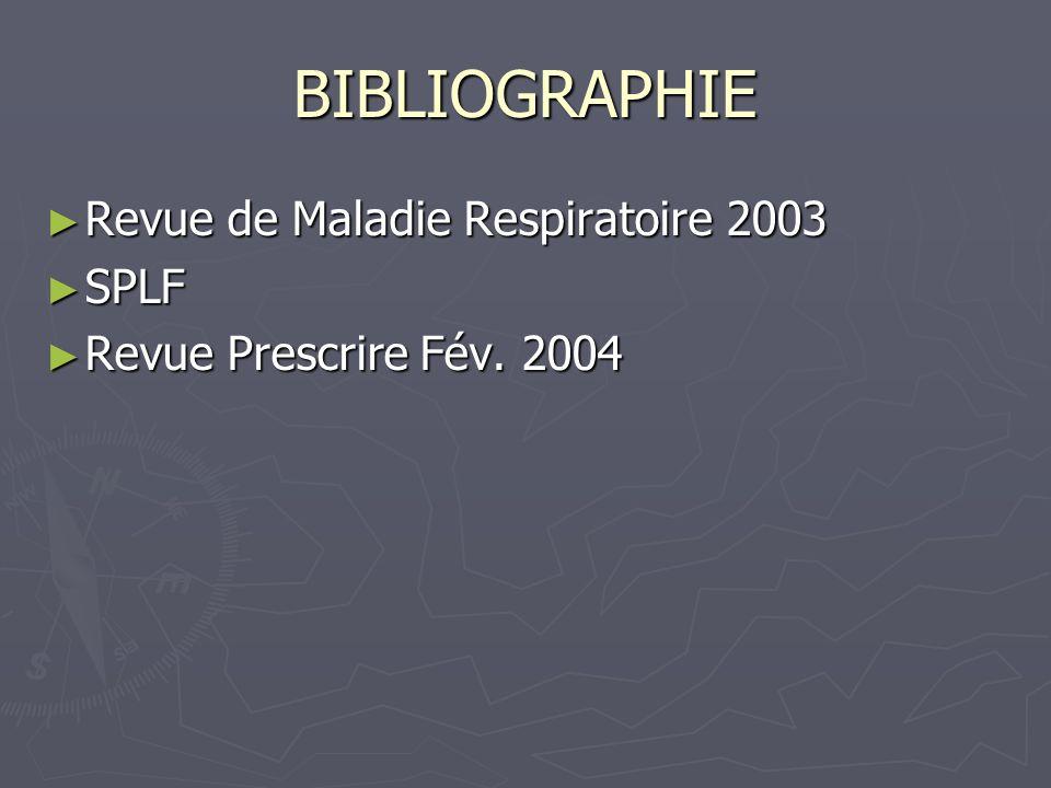 BIBLIOGRAPHIE Revue de Maladie Respiratoire 2003 SPLF