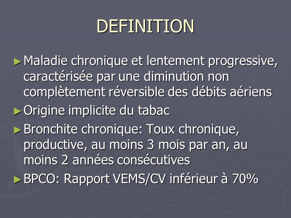 DEFINITION Maladie chronique et lentement progressive, caractérisée par une diminution non complètement réversible des débits aériens.