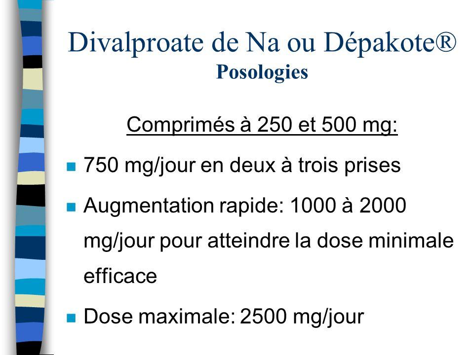 Divalproate de Na ou Dépakote® Posologies