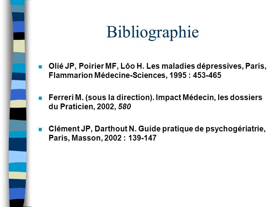 BibliographieOlié JP, Poirier MF, Lôo H. Les maladies dépressives, Paris, Flammarion Médecine-Sciences, 1995 : 453-465.