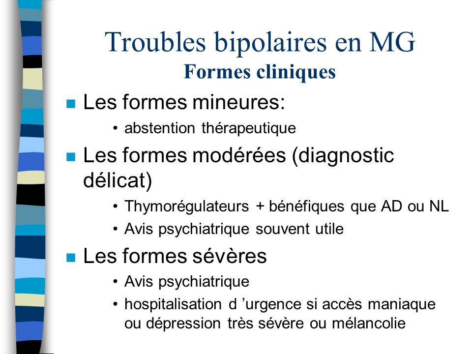 Troubles bipolaires en MG Formes cliniques