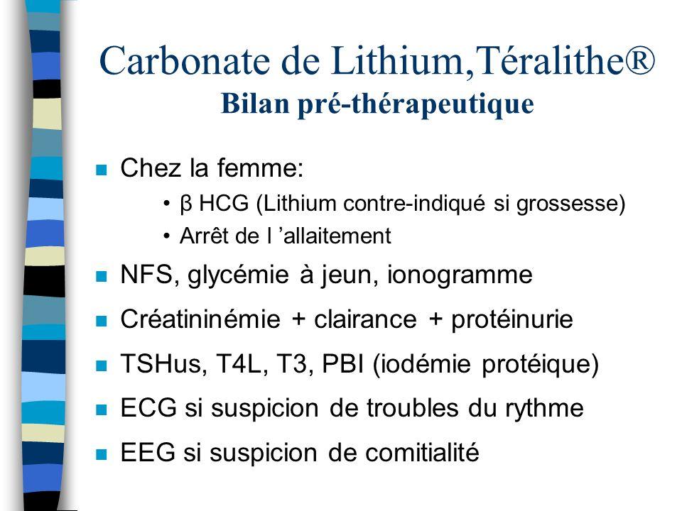 Carbonate de Lithium,Téralithe® Bilan pré-thérapeutique