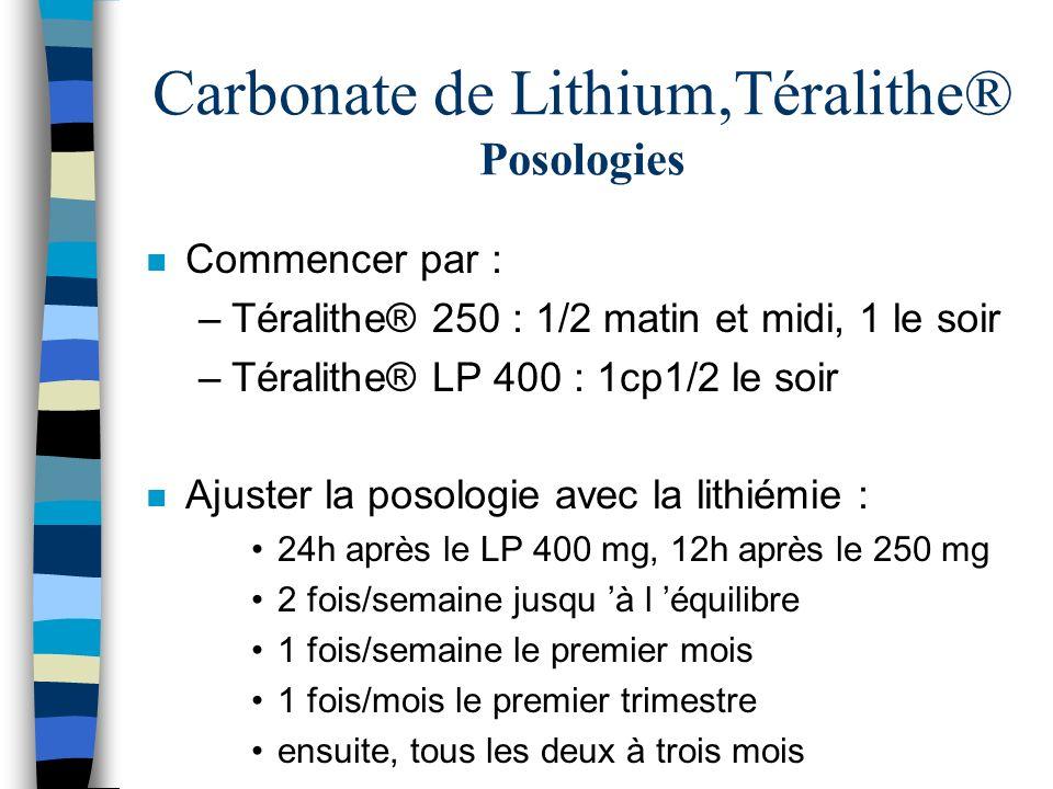 Carbonate de Lithium,Téralithe® Posologies