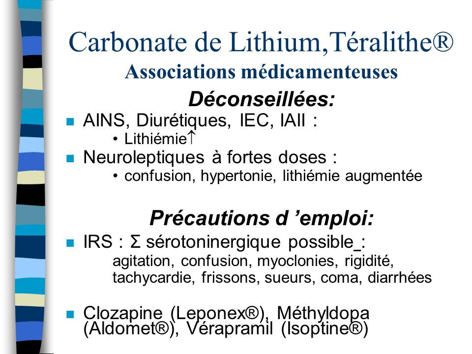Carbonate de Lithium,Téralithe® Associations médicamenteuses